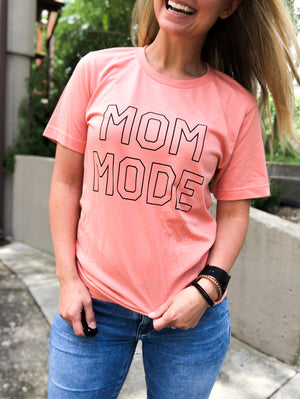 Mom Mode - Coral Graphic Tee