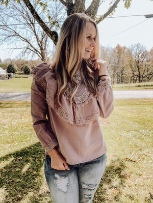 Whats The Stitch - Mauve Grey Ruffle Top
