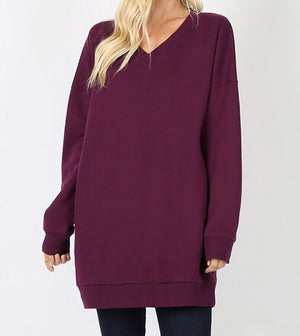 Dark Plum V-Neck Tunic Sweatshirt
