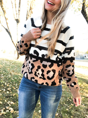 Like a Rebel - Leopard Stripe Sweater