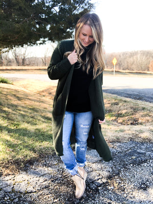 Winter Green - Forest Green Cardigan