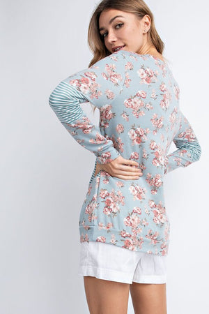Stripe and Floral Blue Block Long  Sleeve