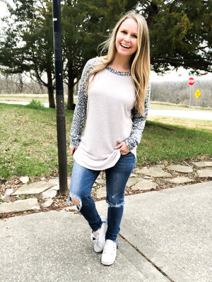 Wild Neutral - Leopard Long Sleeve Top