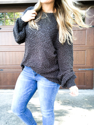 Now or Never - Ash Gray Popcorn Sweater