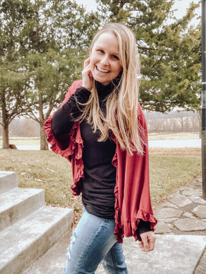 Burgundy Ruffled Cardigan