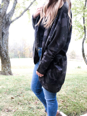 Hunting Season - Oversized Camo Cardigan