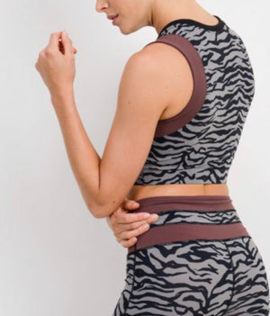 The Burgundy Tiger - Grey Tiger Print Crop Top with Wraparound Accent
