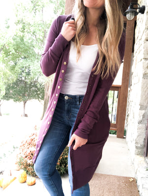 Smokin' Hot Remix - Eggplant Long Button Cardigan
