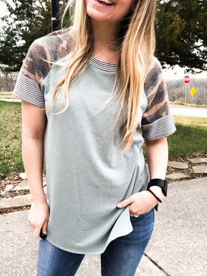 In The Outdoors - Camo Sleeve Top