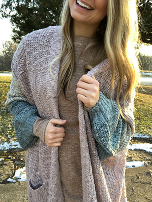 Oversize Color Block Knitted Cardigan