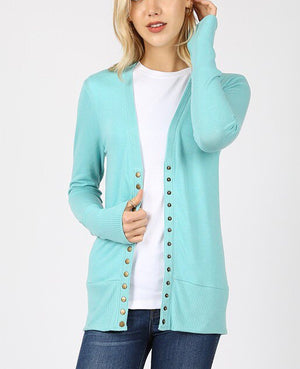 Mint Snap Button Cardigan