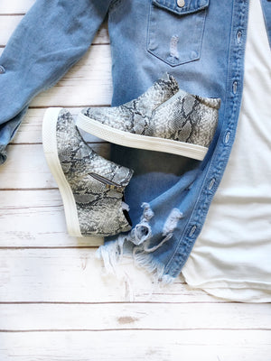 Snake Wedge Sneakers
