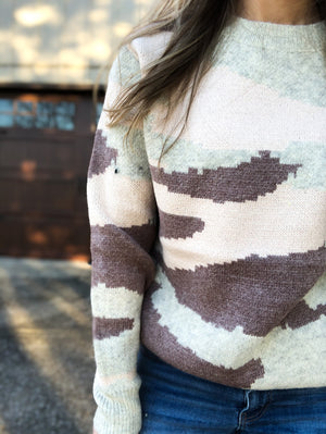 Pale Pink Hiding - Camo Sweater