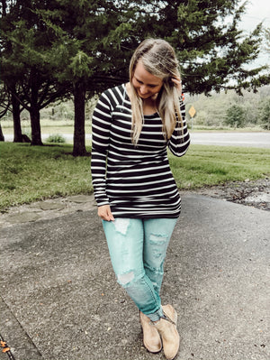 Black Stripe Long Tunic