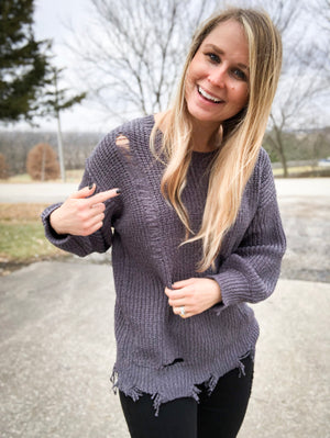 Charcoal Distressed Sweater