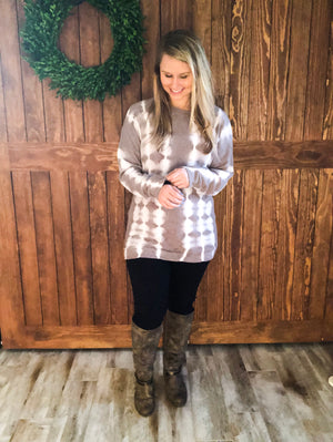 Gray Tie Die Tunic Sweater