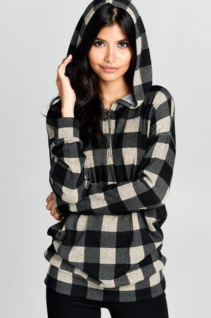 Black and Ivory Buffalo Plaid Pull Over