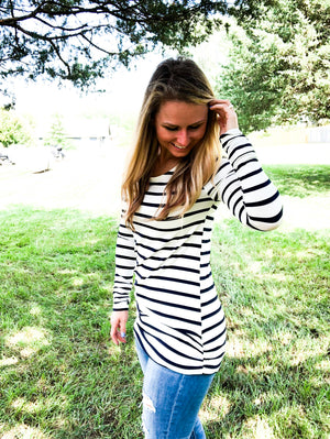 Navy and White Stripe Long Tunic