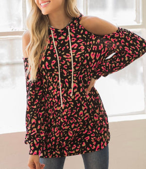 Sizzling Hot - Neon Pink Leopard Hoodie