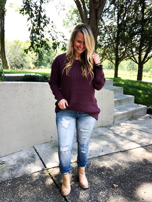 Nights of Fall - Eggplant Chunky Sweater