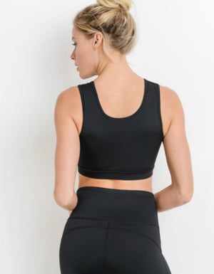 Midnight Black - Double Button Classic Sports Bra
