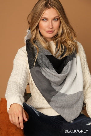 Black & Gray Plaid Blanket Scarf