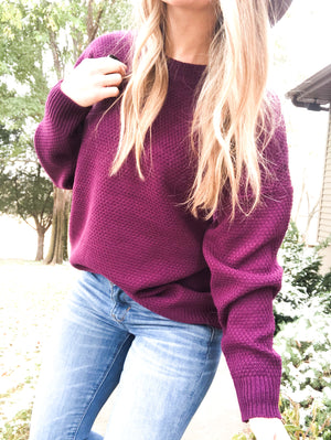 Swing of Things - Dark Plum Sweater
