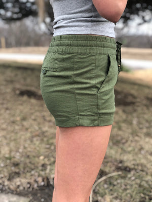 Exposed - Olive Linen Shorts