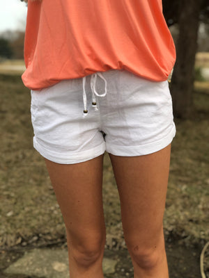 Picture Perfect - White Linen Shorts