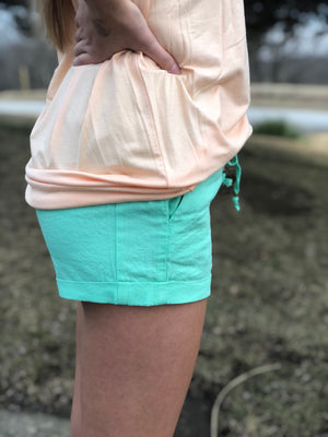 In The Cabana - Mint Linen Shorts