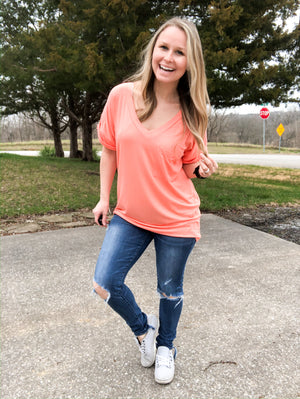 Pinkies Out - Fusion Coral V-Neck