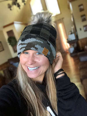 Plaid and Camo Knit Hat with Pom