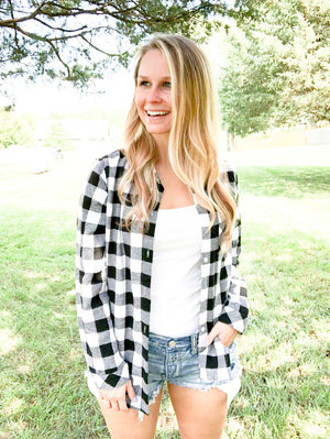 Faux Fur Lined Black & White Buffalo Plaid Flannel