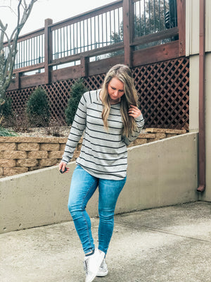 Social Lights - Gray Stripe Top