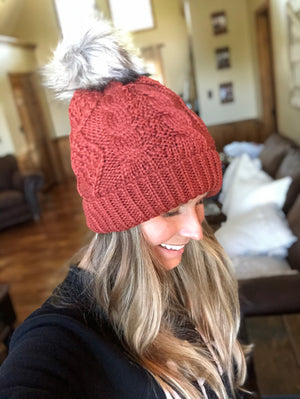 Mustardy-Orange Knit Hat with Pom