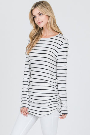 Black and White Stripe Long Tunic