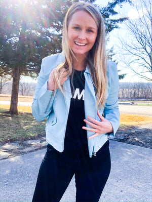 Baby Blue Days Are Ahead - Faux Leather Jacket