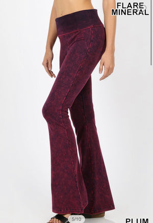 Plum Mineral Wash Flare Yoga Pants