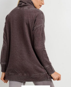 Cozy Casual Days - Cowl Neck Overlay Sweater