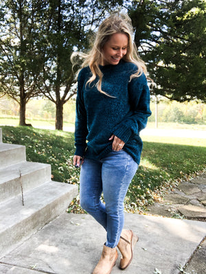 Style Cartel - Teal Chenille Sweater