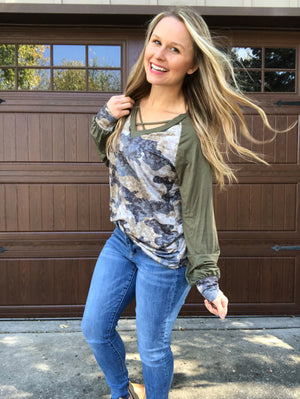 Faded Camo -  Camo Long Sleeve Top