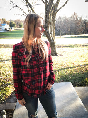 Red Plaid Lace Up Top