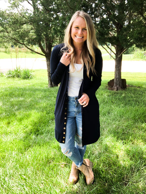 Midnight Navy - Long Button Cardigan