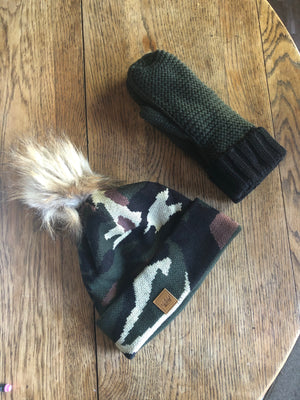 Olive and Black Mitten