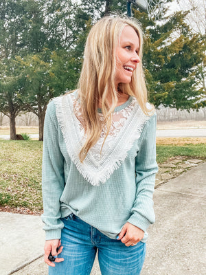 Sage You Love Me - Sage Lace Top