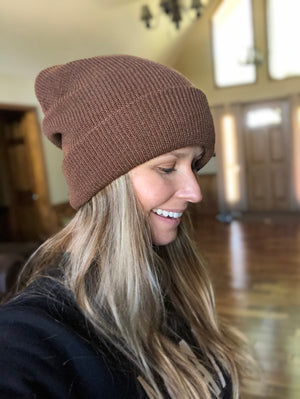 Brown Slouchy Knit Hat