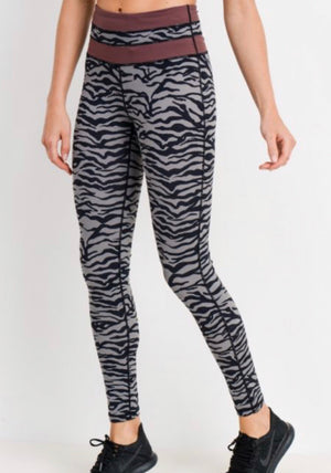 The Burgundy Tiger - Grey Tiger Highwaist Leggings with Striped Band