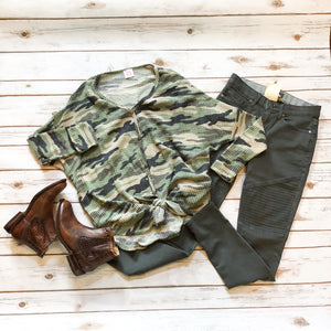 Camo Brushed Thermal Knit Button Up