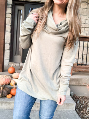 Light Sky - Sage Cowlneck