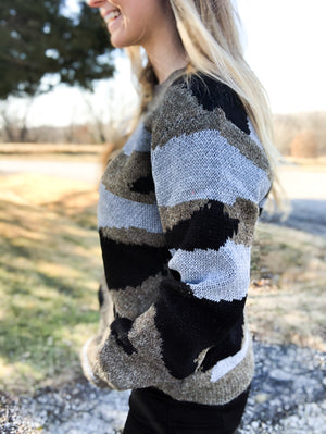 Sophisticated Trend - Camo Sweater